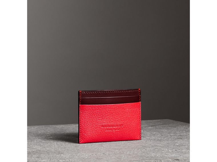 Two-tone Leather Card Case in Bright Red - Women | Burberry United Kingdom - cell image 4