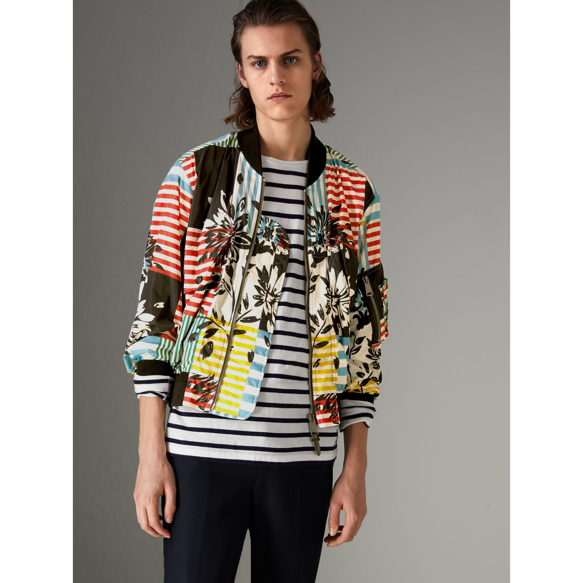 Floral Stripe Print Bomber Jacket in Steel Blue - Men | Burberry - gallery image 4
