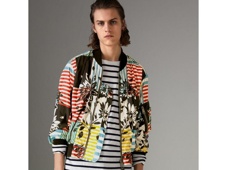 Floral Stripe Print Bomber Jacket in Steel Blue - Men | Burberry - cell image 4