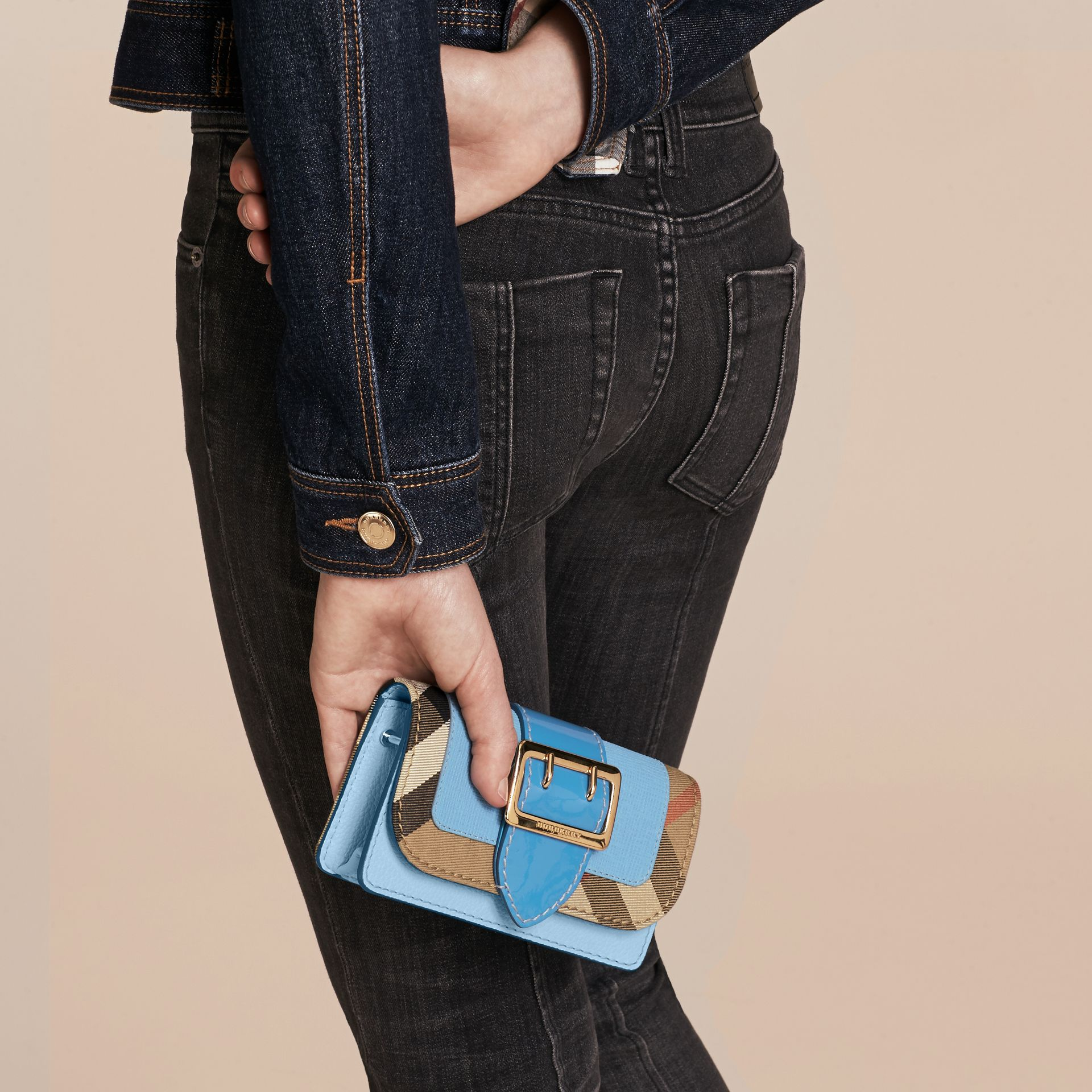 Bright mineral blue The Mini Buckle Bag in Leather and House Check Bright Mineral Blue - gallery image 4