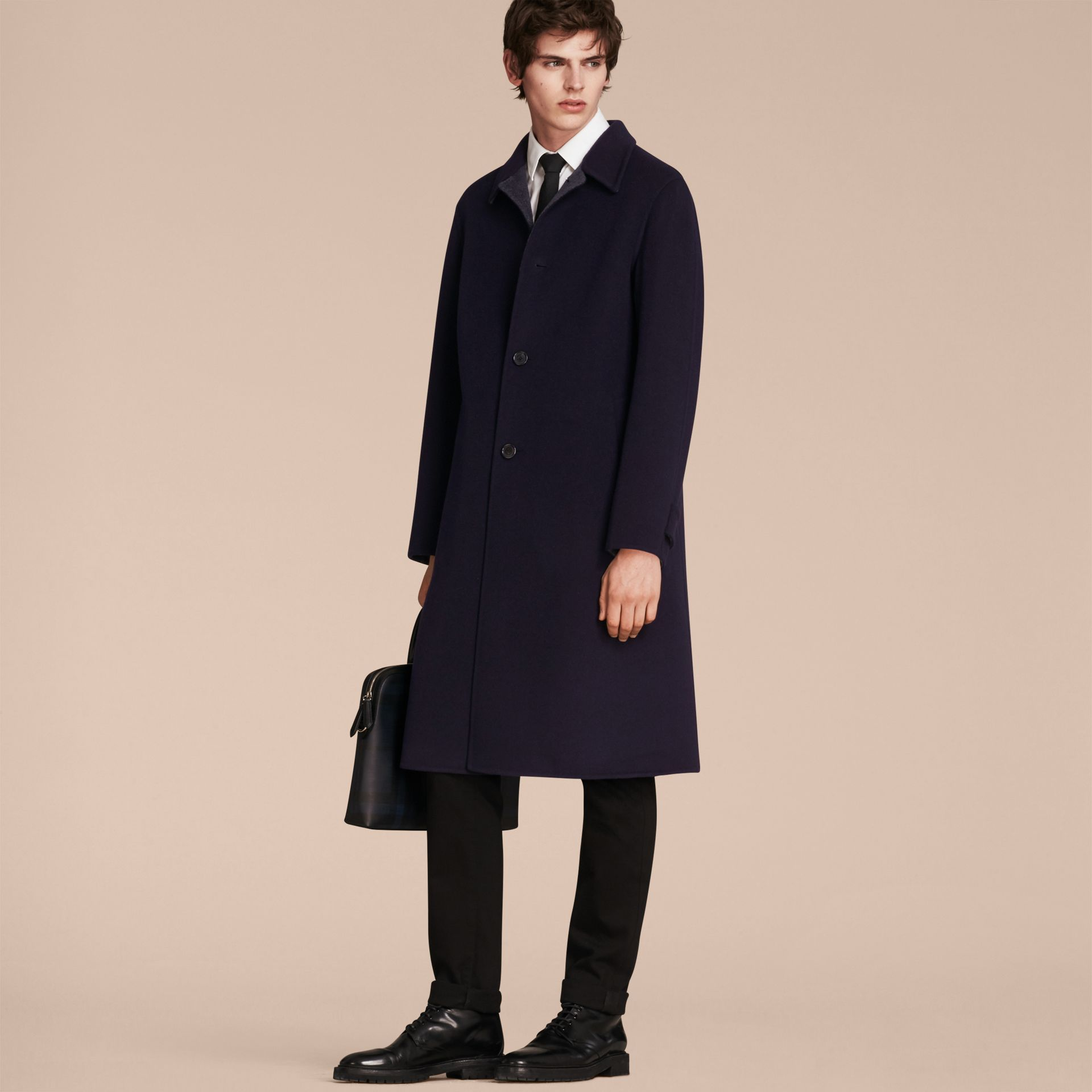 Navy Double-faced Wool Car Coat - gallery image 7
