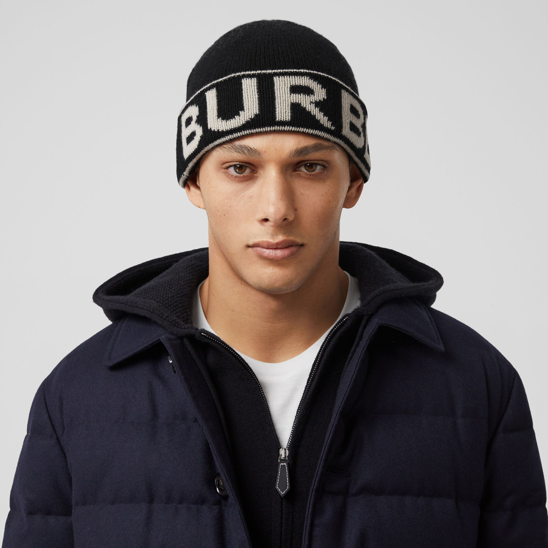 Logo Intarsia Cashmere Beanie in Black | Burberry - gallery image 3