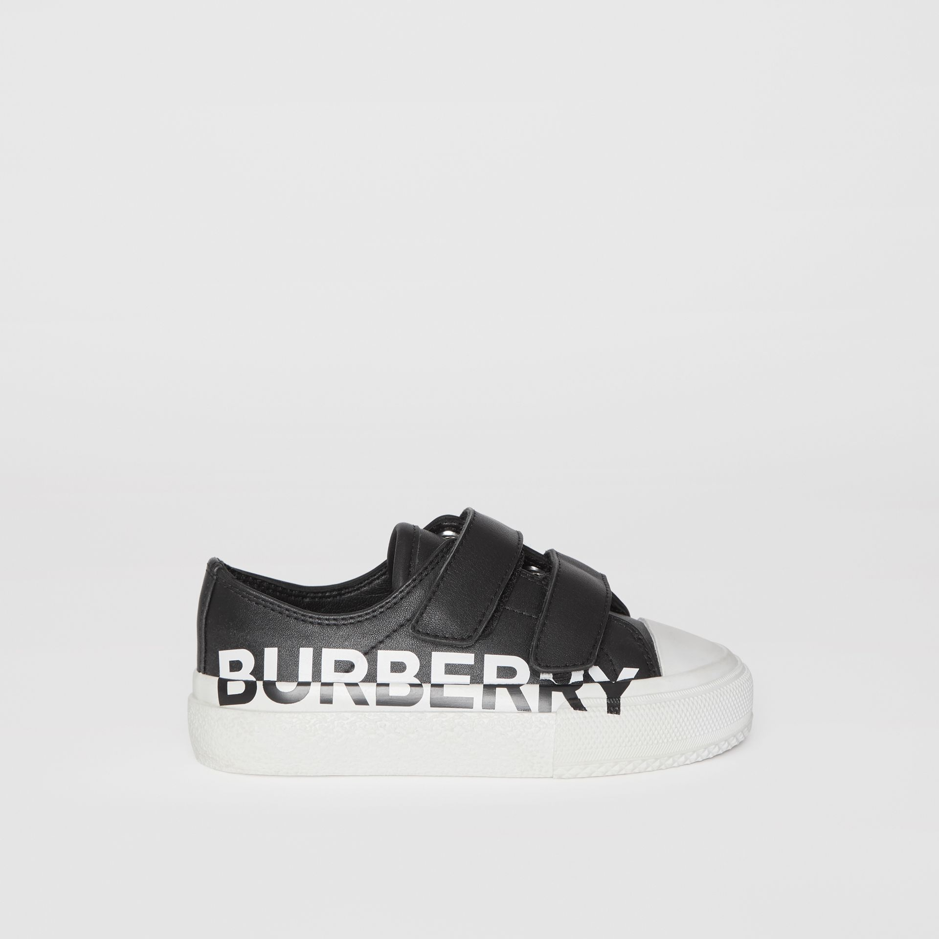 Logo Print Two-tone Leather Sneakers in Black/white - Children | Burberry - gallery image 3