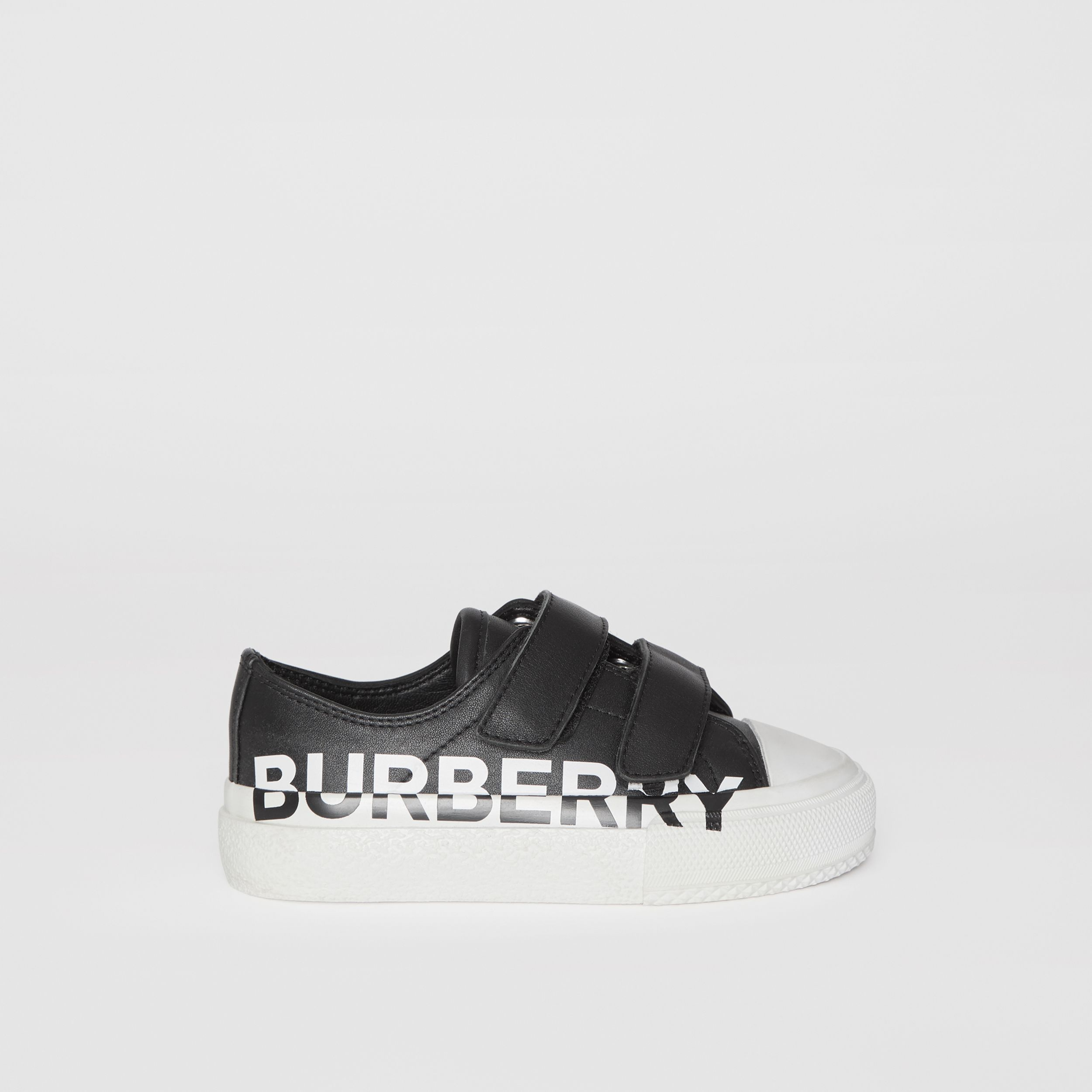 Logo Print Two-tone Leather Sneakers in Black/white - Children | Burberry - 4
