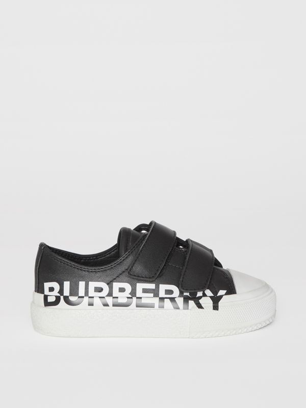 Logo Print Two-tone Leather Sneakers in Black/white - Children | Burberry - cell image 3