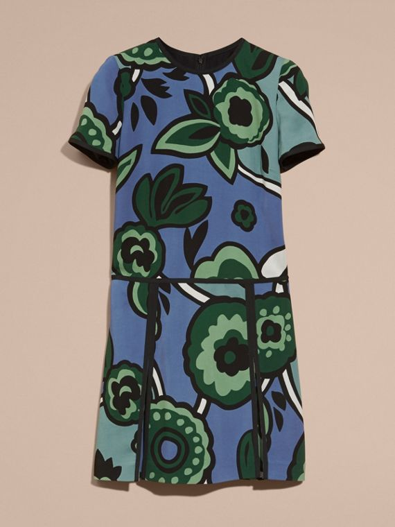 Bright steel blue Graphic Floral Dropped-waist Dress - cell image 3
