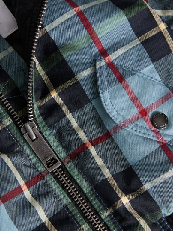 Tartan Padded Cotton Gabardine Bomber Jacket in Cyan Blue | Burberry United Kingdom - cell image 1