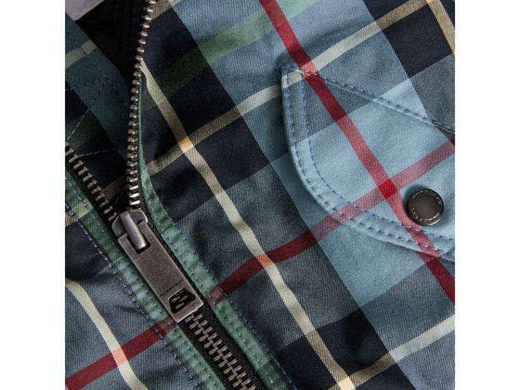 Tartan Padded Cotton Gabardine Bomber Jacket in Cyan Blue | Burberry - cell image 1