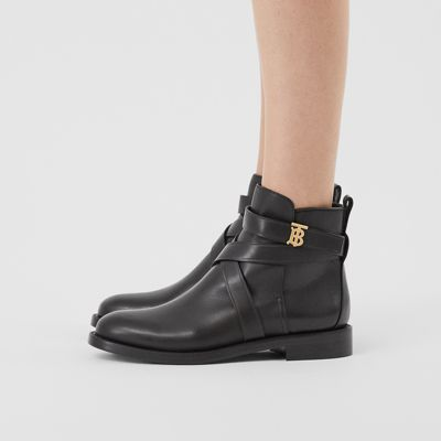 Monogram Motif Leather Ankle Boots in