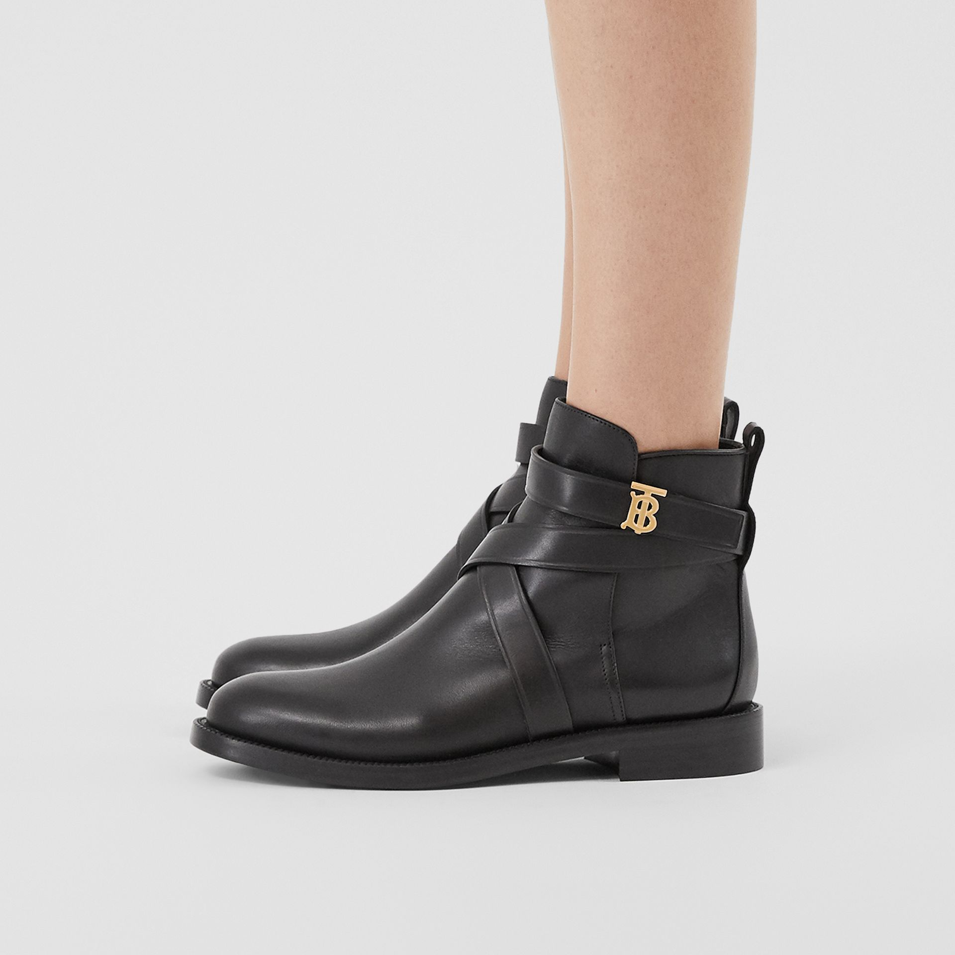 Monogram Motif Leather Ankle Boots in Black - Women | Burberry - gallery image 2