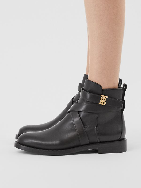 Monogram Motif Leather Ankle Boots in Black - Women | Burberry - cell image 2