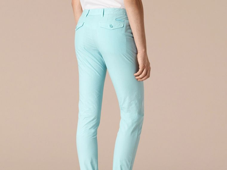 Pearl blue Slim Fit Cotton Poplin Chinos Pearl Blue - cell image 1