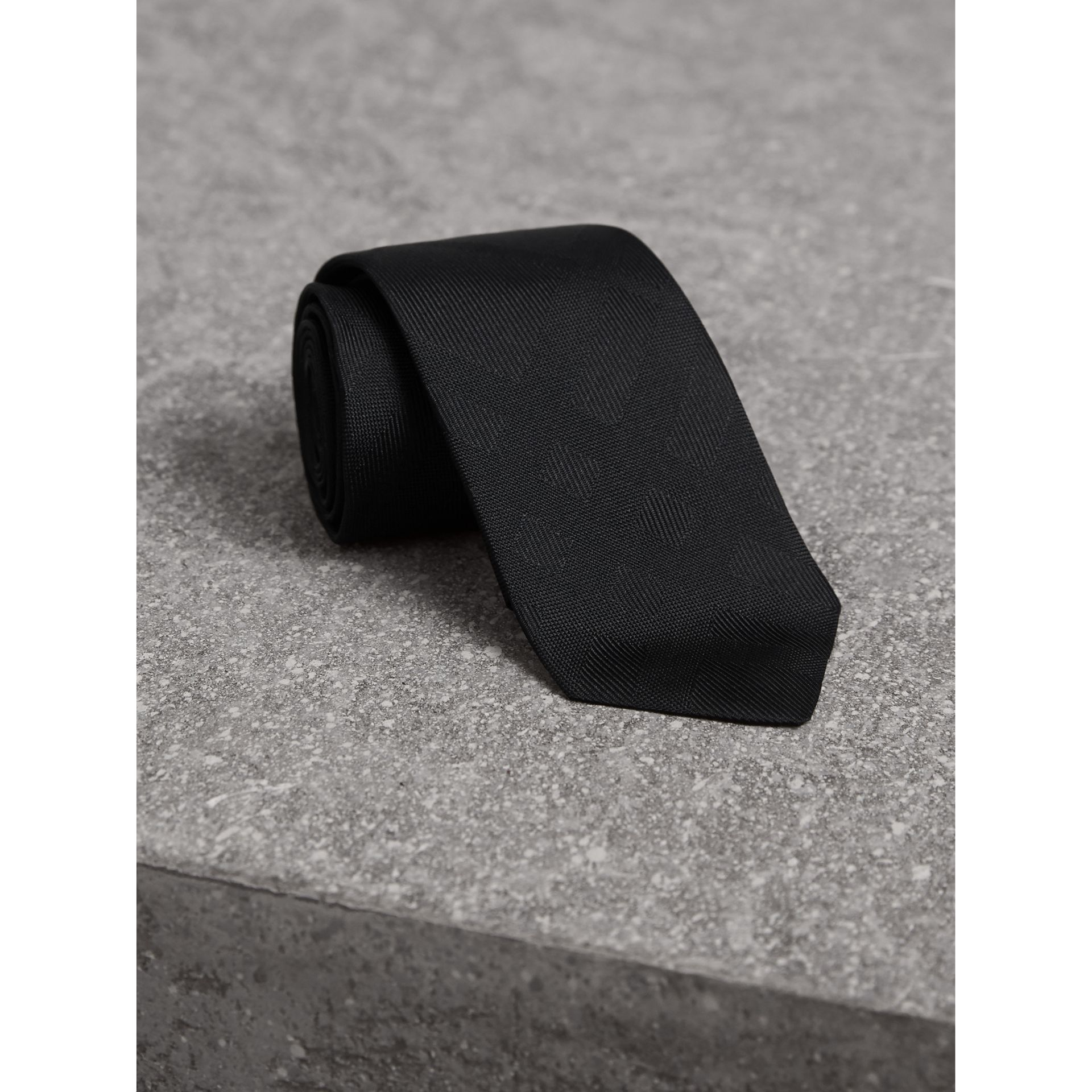Slim Cut Check Silk Tie in Black - gallery image 1