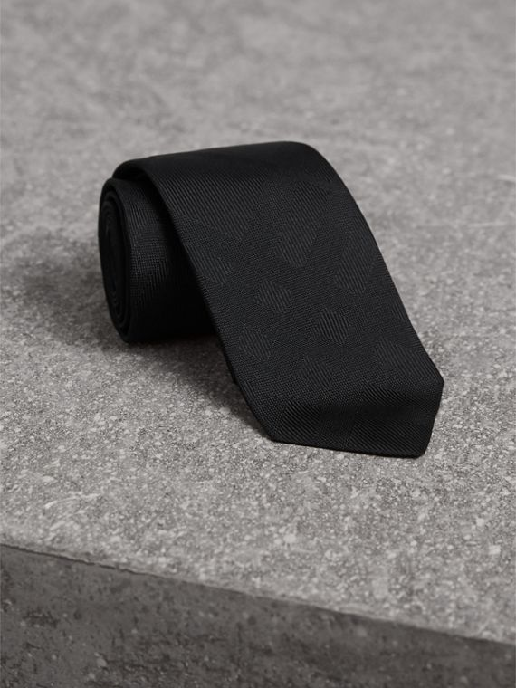 Slim Cut Check Silk Tie in Black - Men | Burberry