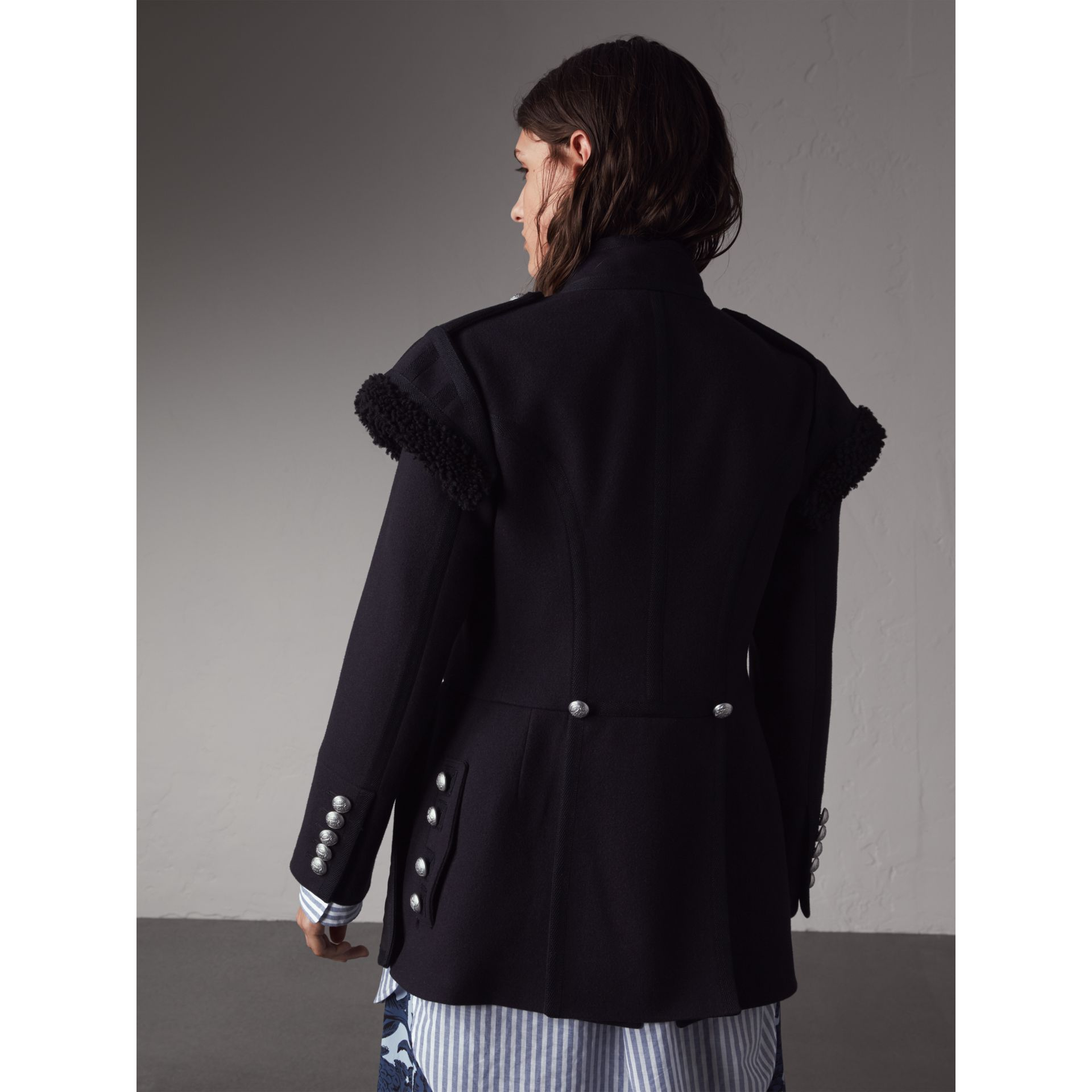 Shearling Trim Wool Blend Regimental Jacket in True Navy - Women | Burberry - gallery image 3