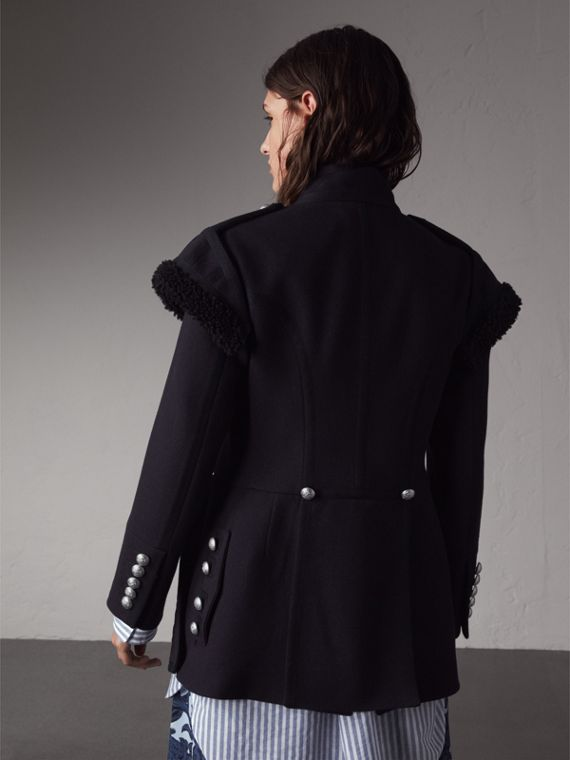 Shearling Trim Wool Blend Regimental Jacket - Women | Burberry Singapore - cell image 2