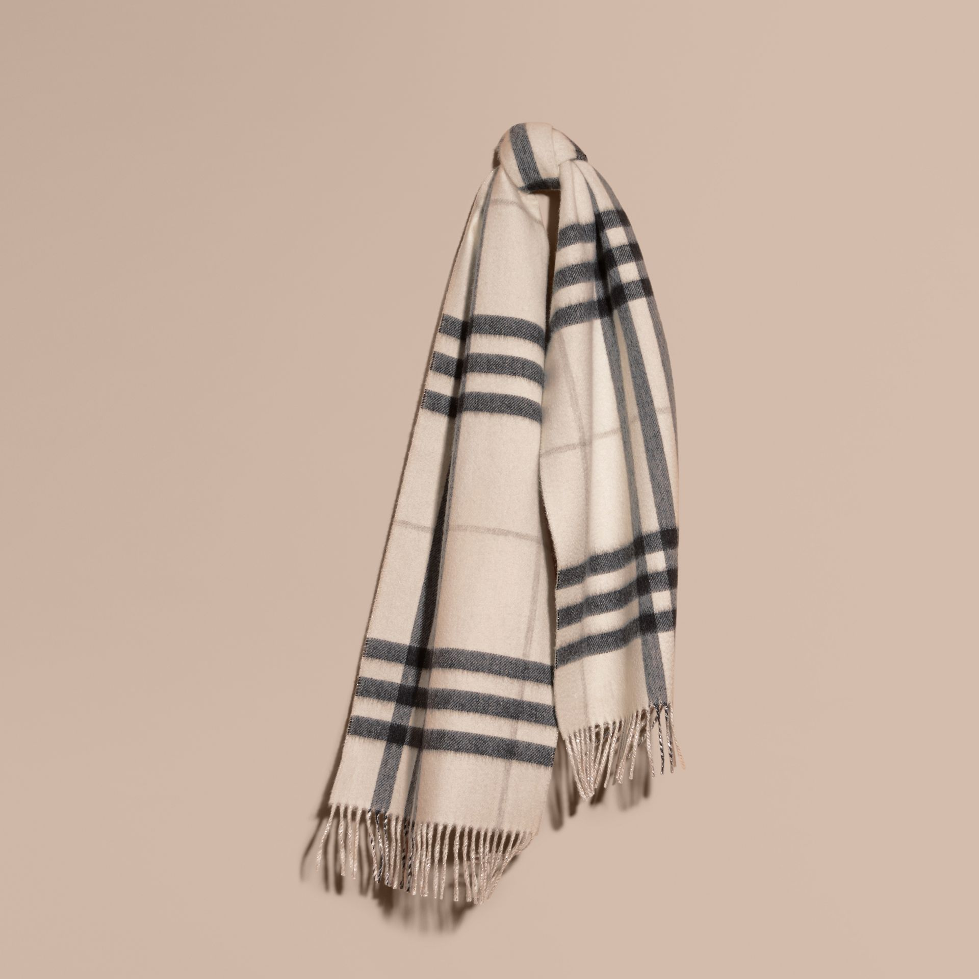 Reversible Metallic Check Cashmere Scarf in Natural White - gallery image 6