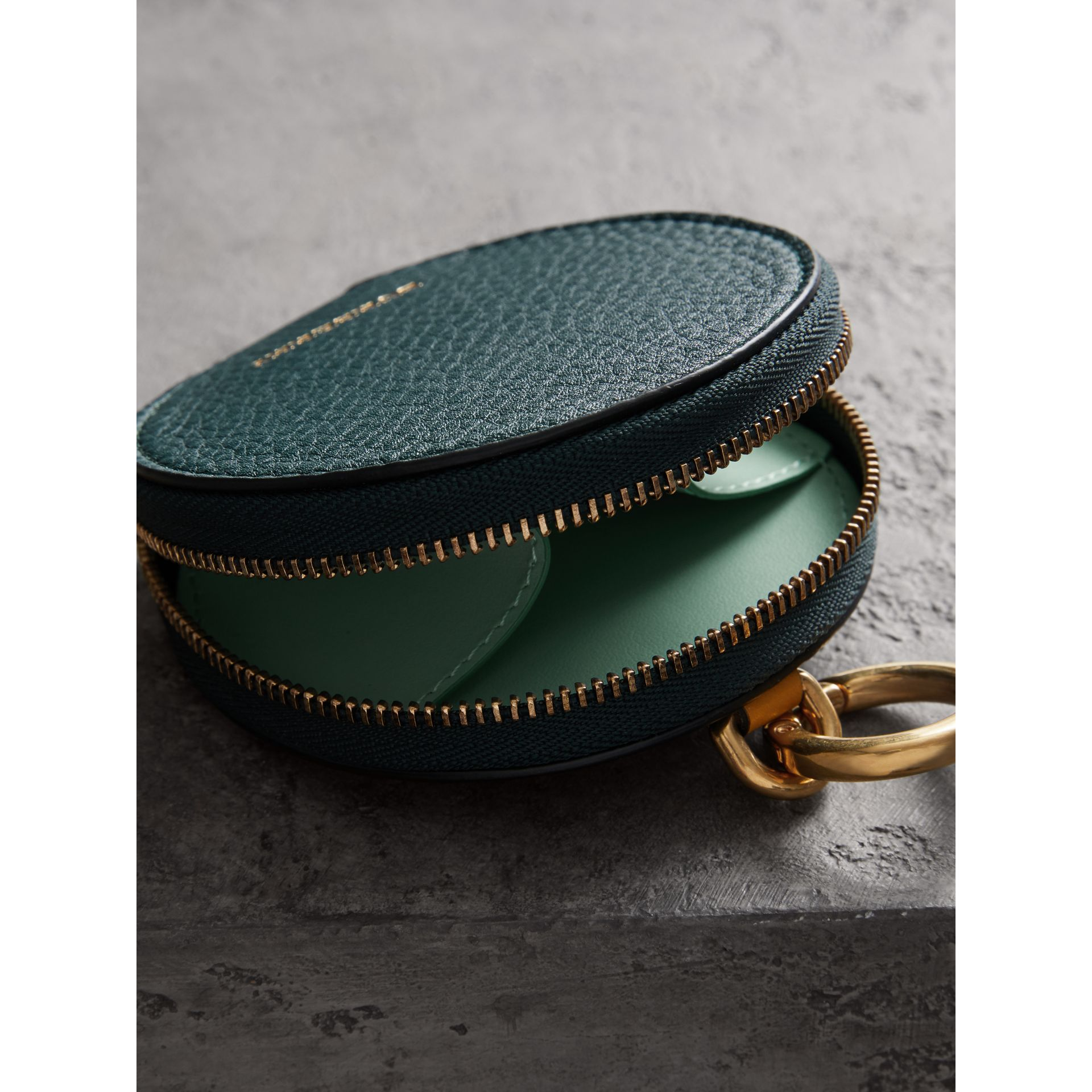 Small Round Leather Coin Case in Dark Cyan/cornflower Yellow | Burberry Singapore - gallery image 2