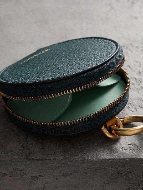 Small Round Leather Coin Case in Dark Cyan/cornflower Yellow | Burberry Singapore - cell image 2