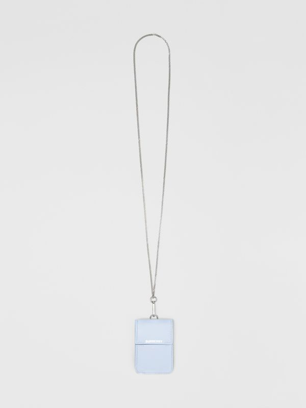 Horseferry Print Leather Card Case Lanyard in Pale Blue | Burberry - cell image 2