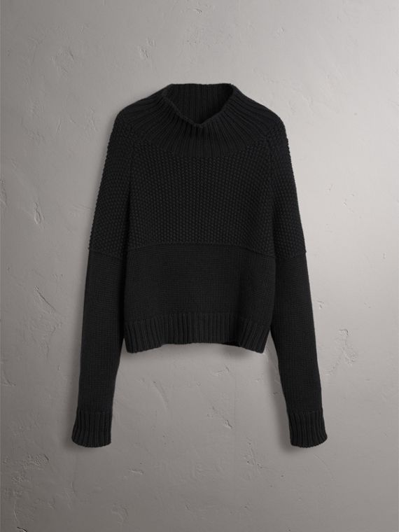 Cashmere Roll-neck Sweater in Black - Women | Burberry Singapore - cell image 3