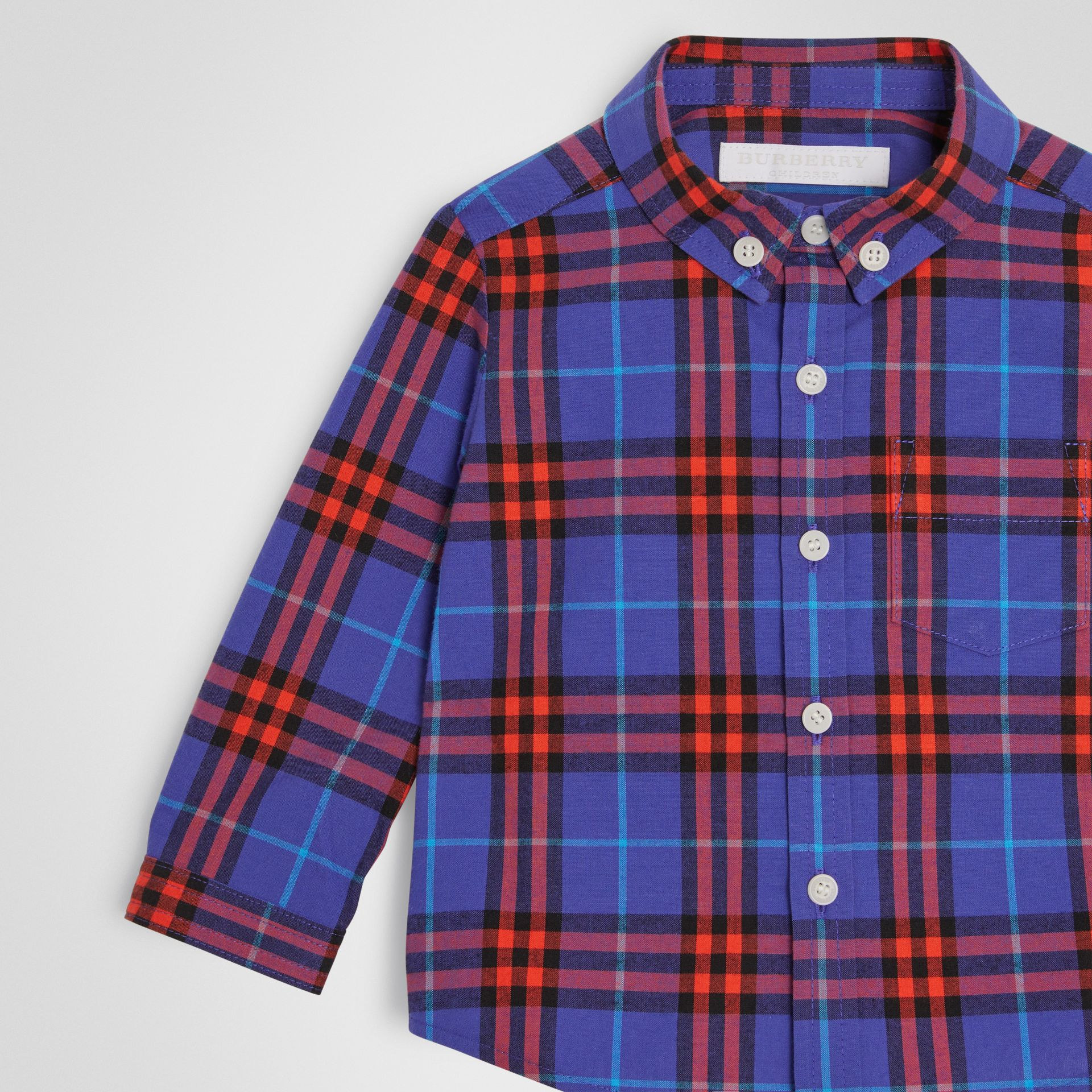 Button-down Collar Check Cotton Shirt in Sapphire Blue - Children | Burberry - gallery image 4