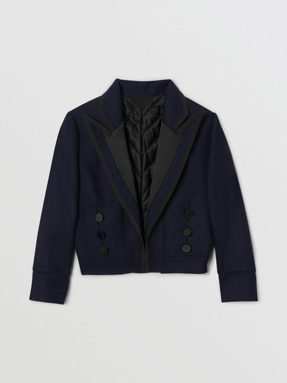 Satin Trim Wool Twill Tailored Jacket in Navy