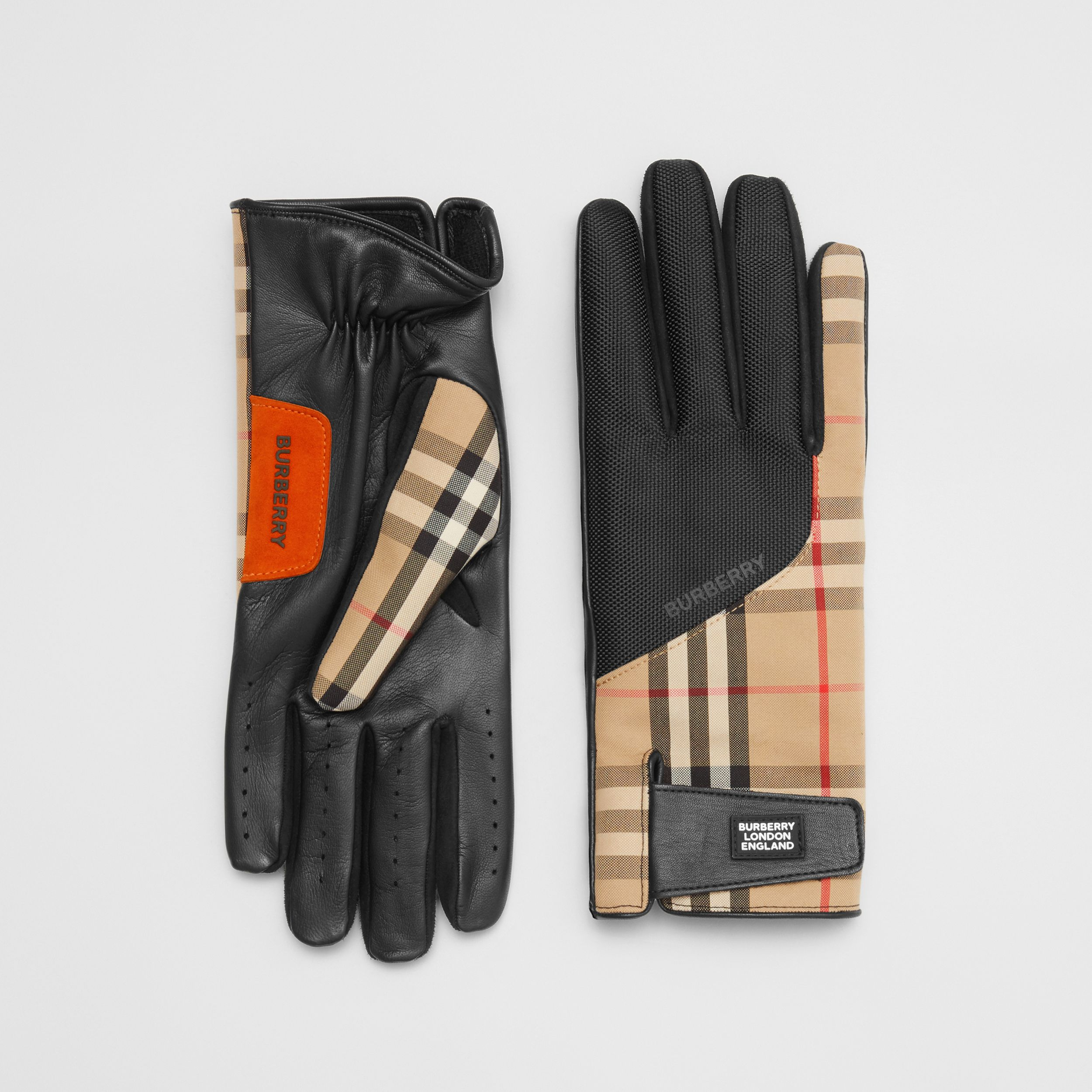 Logo Appliqué Vintage Check and Lambskin Gloves in Archive Beige | Burberry - 1