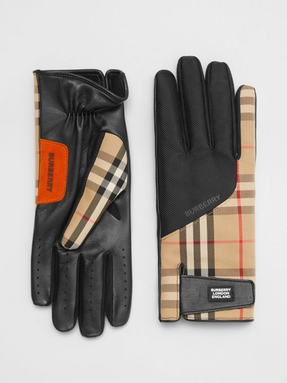 Logo Appliqué Vintage Check and Lambskin Gloves in Archive Beige
