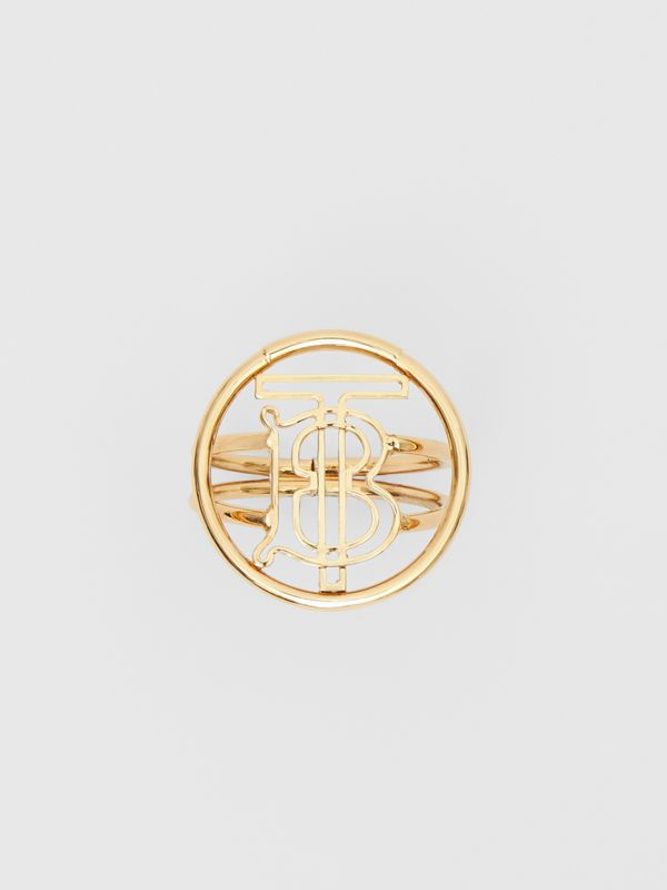 Large Gold-plated Monogram Motif Ring in Light - Women | Burberry - cell image 3