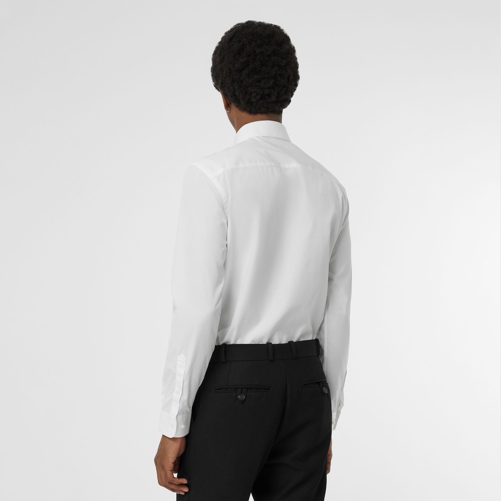 Slim Fit Bullion Floral Cotton Poplin Dress Shirt in White - Men | Burberry - gallery image 2