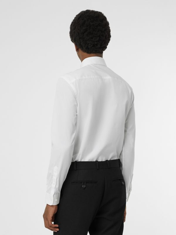 Slim Fit Bullion Floral Cotton Poplin Dress Shirt in White - Men | Burberry - cell image 2
