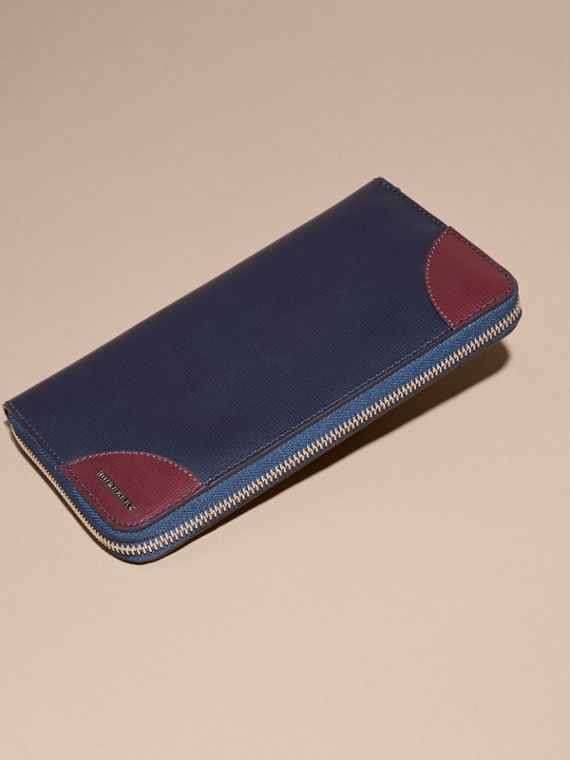 Contrast Corner London Leather Ziparound Wallet Dark Navy - cell image 3