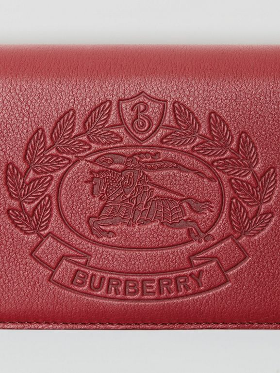 Embossed Crest Leather Continental Wallet in Crimson - Men | Burberry - cell image 1