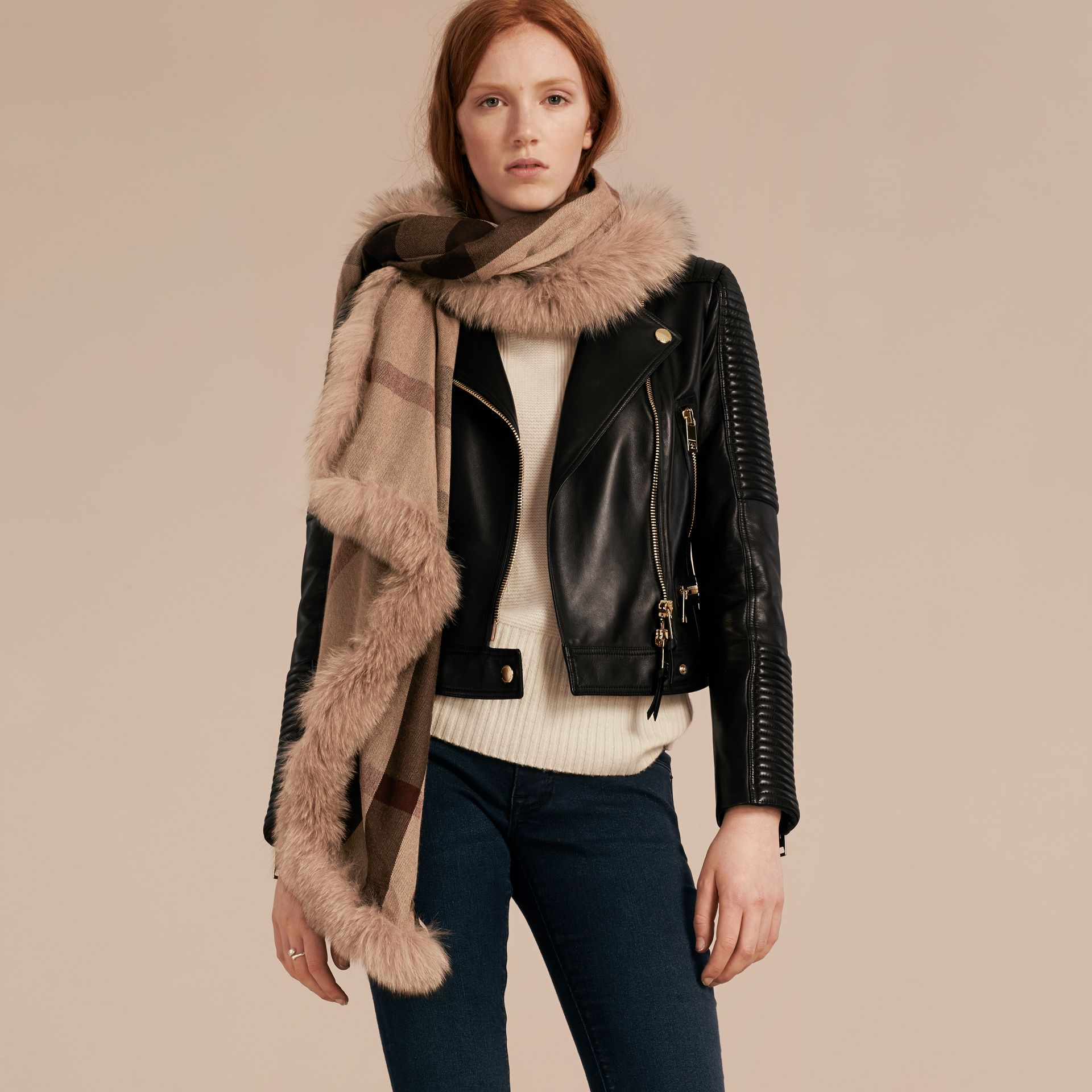 Smoked trench check Fur Trim Cashmere Check Scarf Smoked Trench - gallery image 3