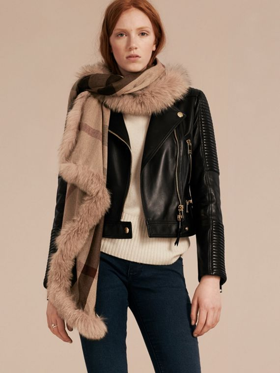 Smoked trench check Fur Trim Cashmere Check Scarf Smoked Trench - cell image 2