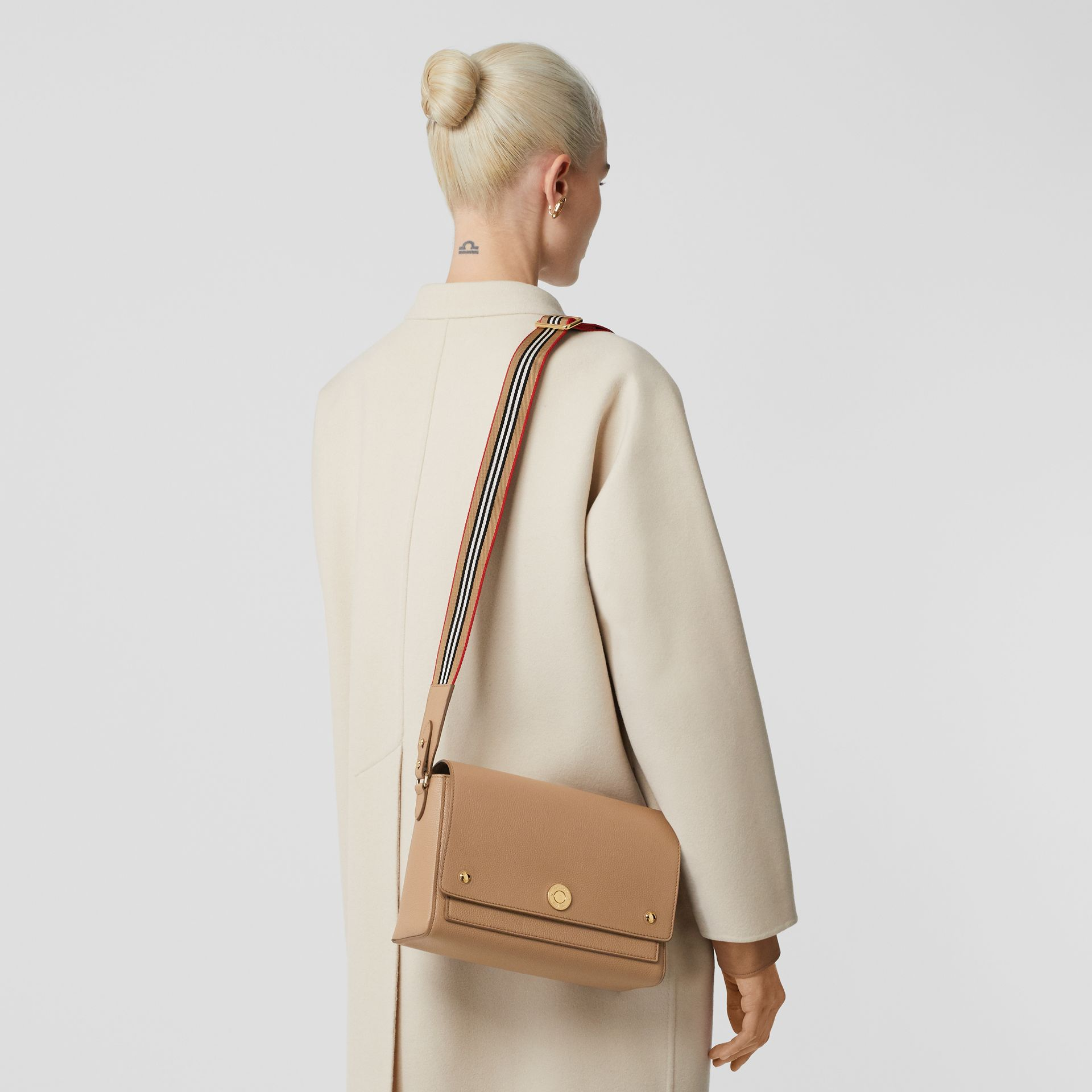Grainy Leather Note Crossbody Bag in Camel - Women | Burberry Australia - gallery image 2