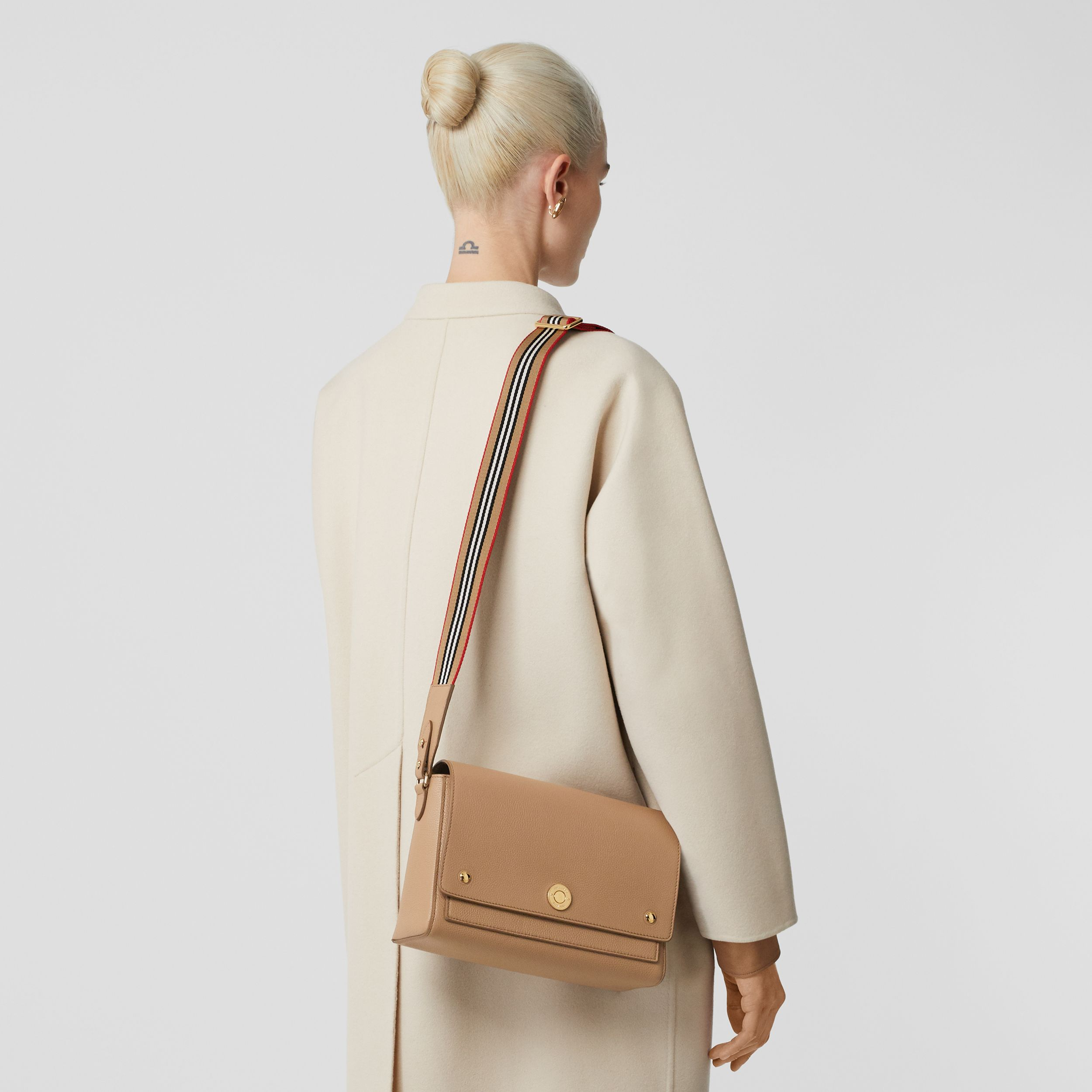 Grainy Leather Note Crossbody Bag in Camel - Women | Burberry - 3