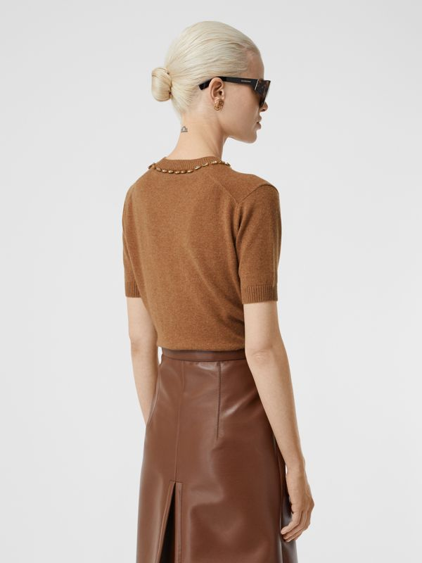 Embellished Cashmere Top in Burnt Almond - Women | Burberry - cell image 2