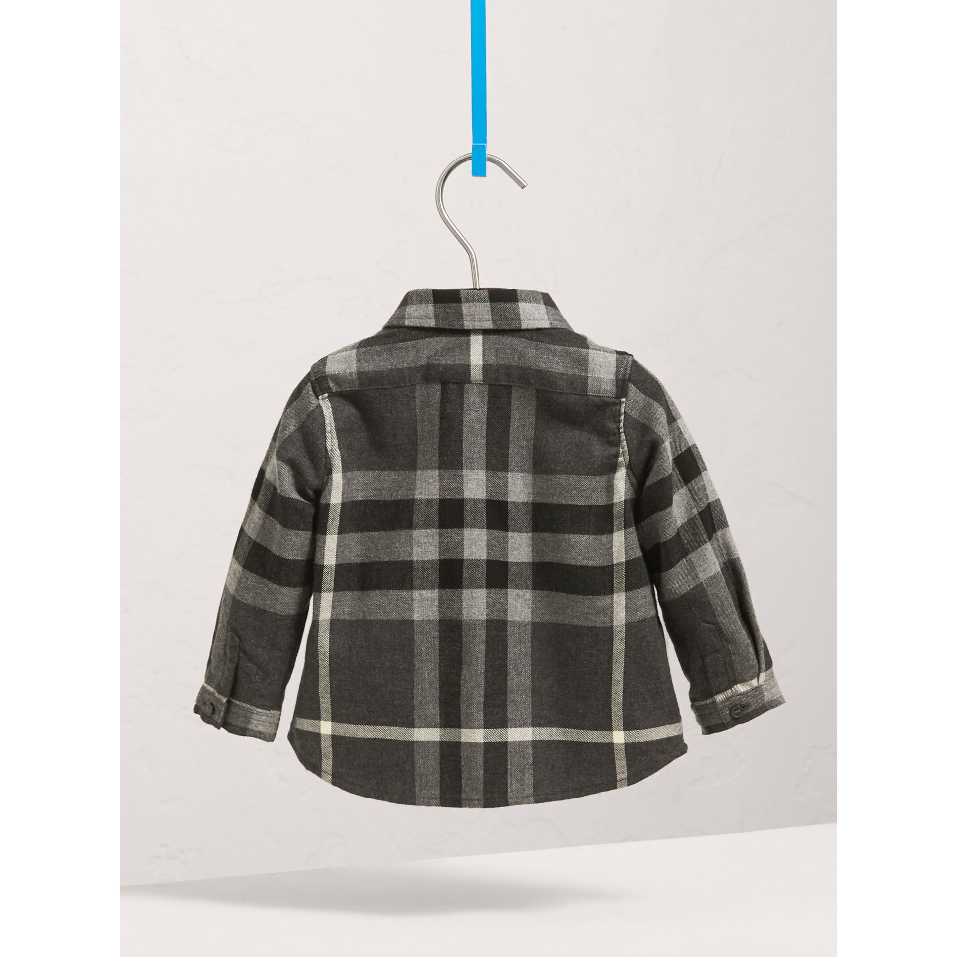 Button-down Collar Check Cotton Shirt in Dark Grey Melange | Burberry - gallery image 4