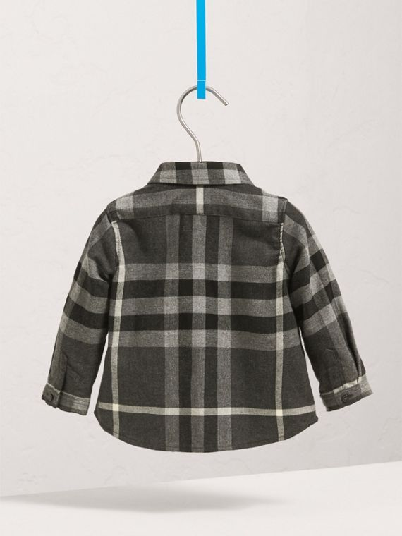 Button-down Collar Check Cotton Shirt in Dark Grey Melange | Burberry - cell image 3