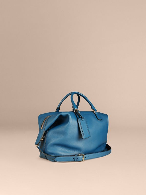 Grainy Leather Holdall Mineral Blue