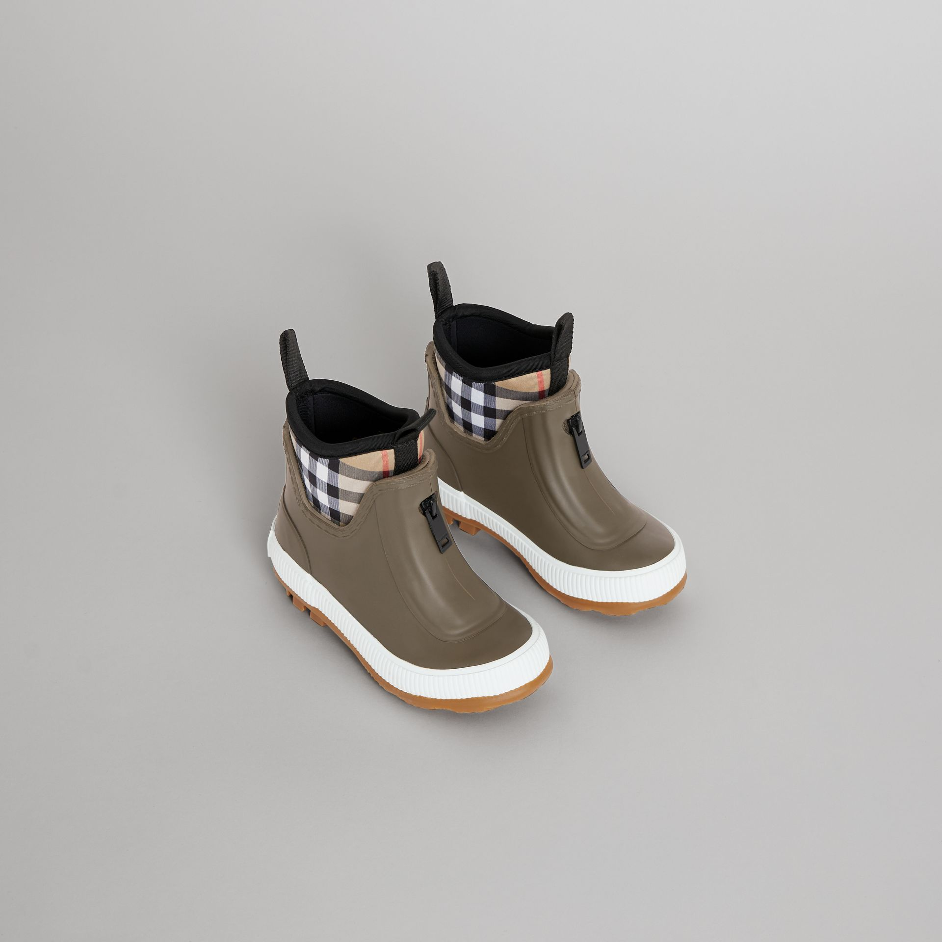 Vintage Check Neoprene and Rubber Rain Boots in Military Green - Children | Burberry United Kingdom - gallery image 0