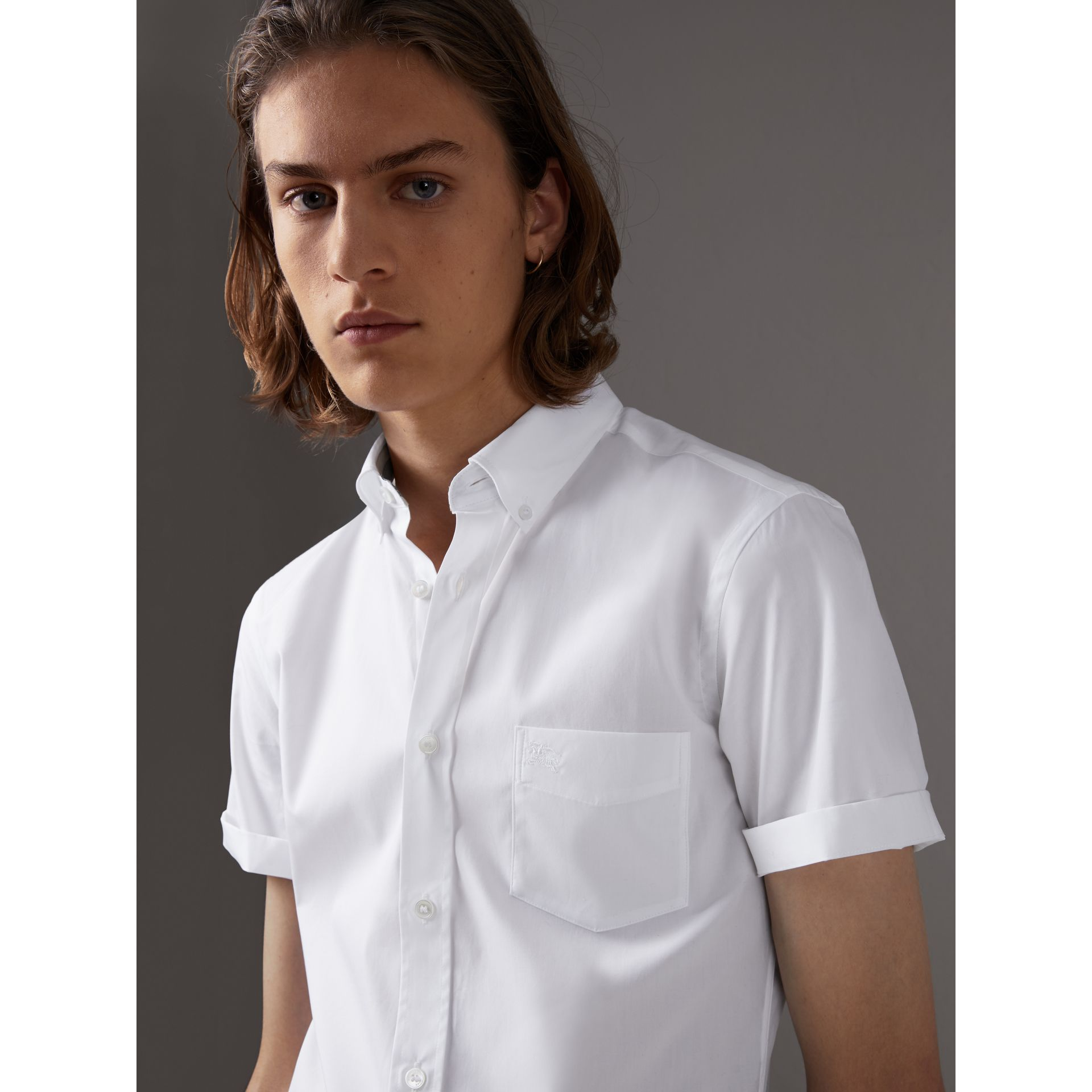Short-sleeved Stretch Cotton Poplin Shirt in White - Men | Burberry - gallery image 1