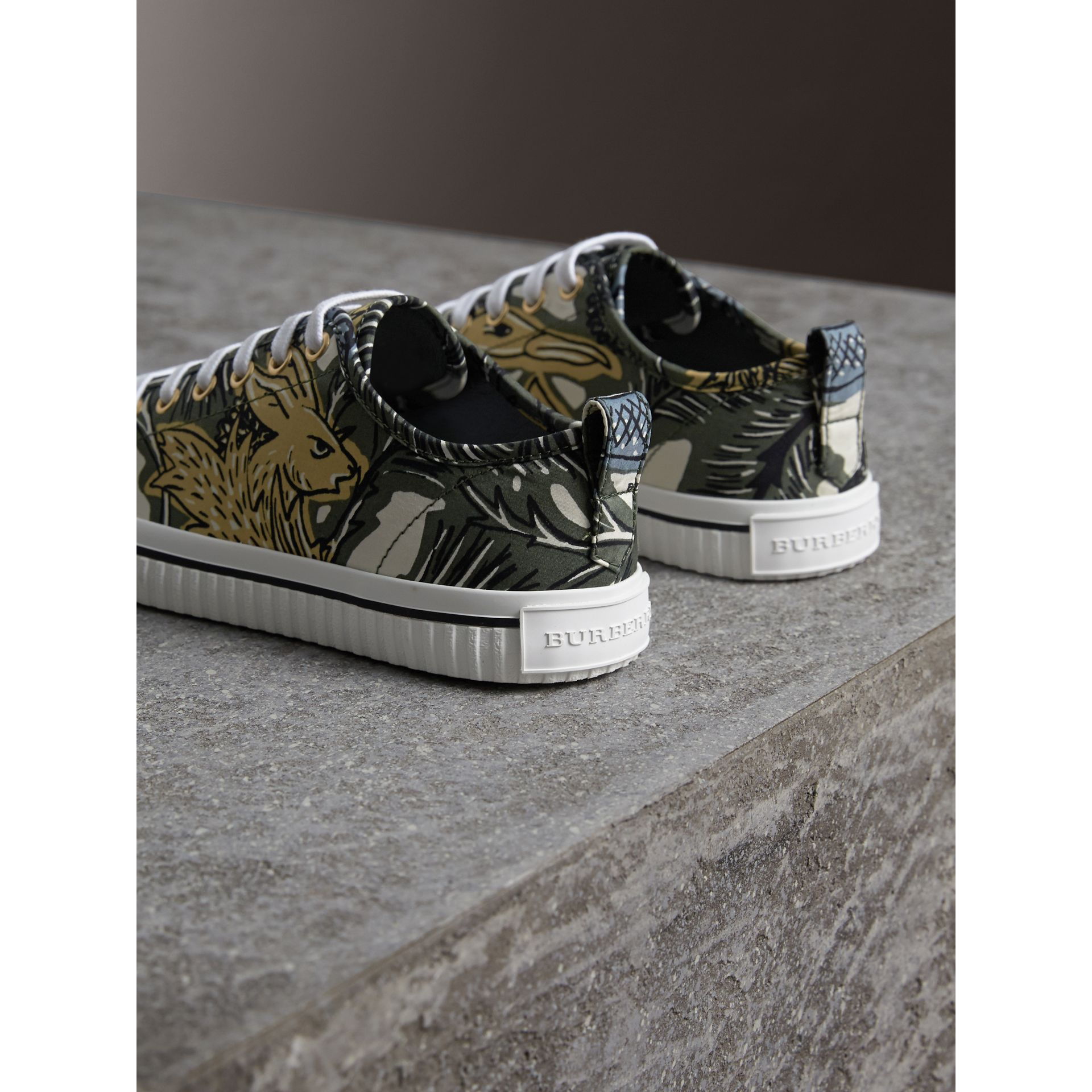Beasts Print Cotton Blend Trainers in Clay Green - Women | Burberry - gallery image 3