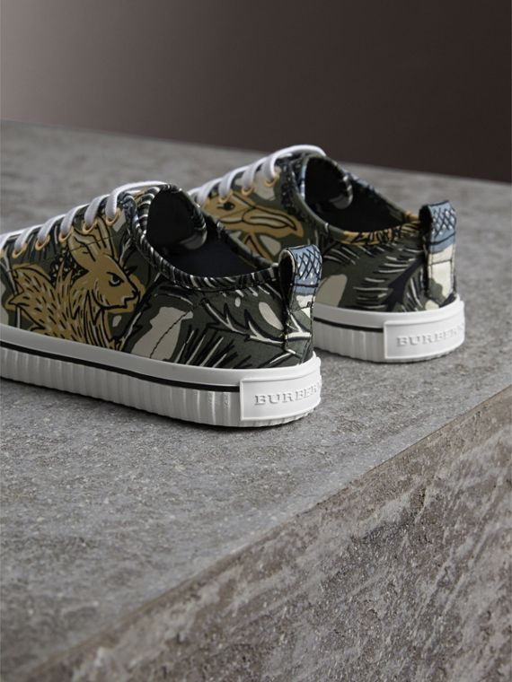 Beasts Print Cotton Blend Trainers in Clay Green - Women | Burberry - cell image 2