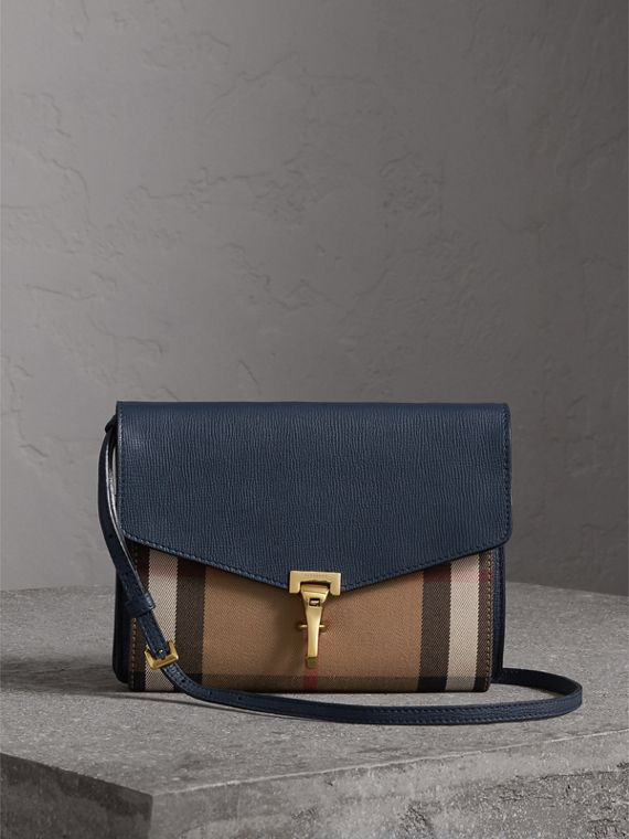 Kleine Crossbody-Tasche aus Leder und House Check-Gewebe (Tintenblau)