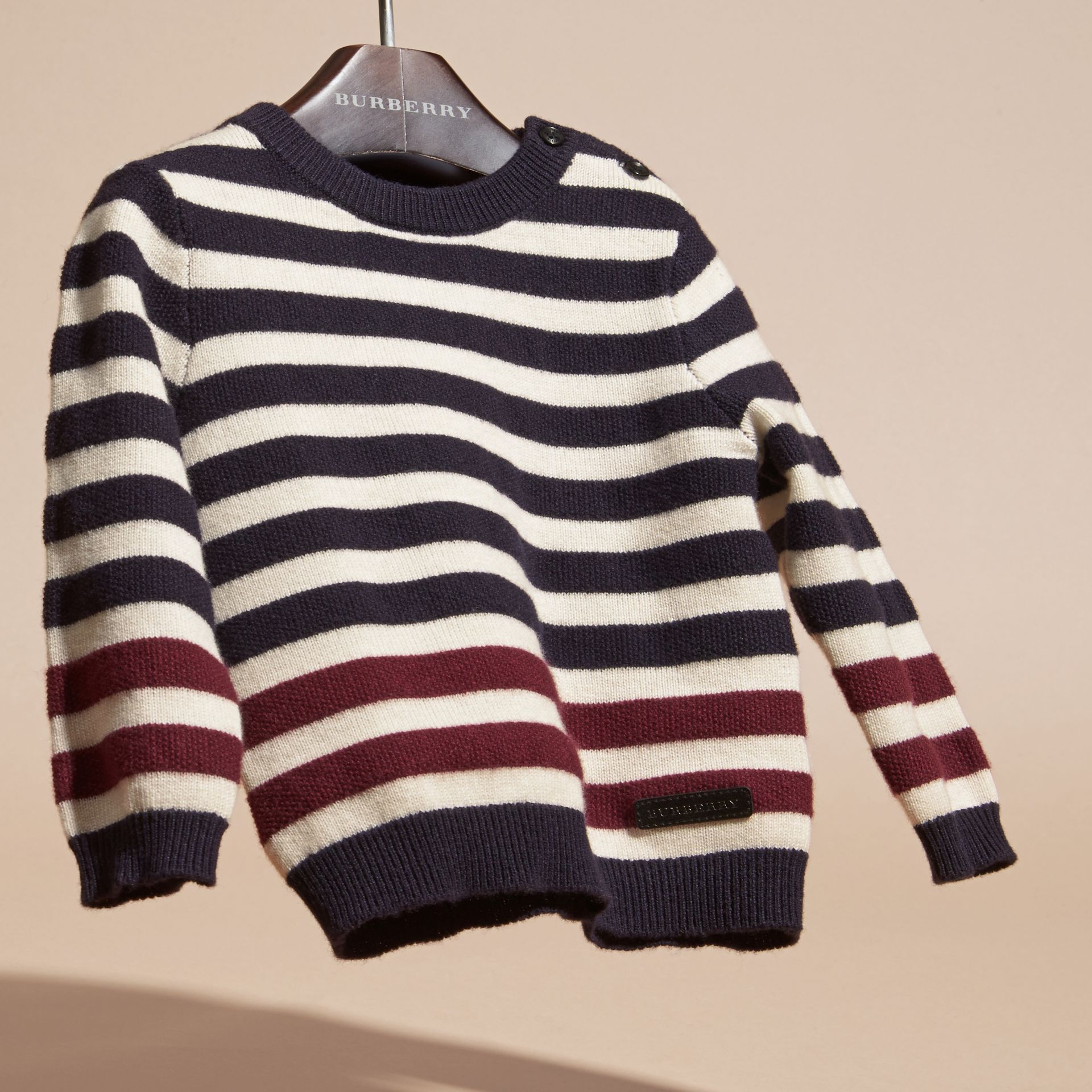 Navy Striped Cashmere Cotton Sweater - gallery image 3