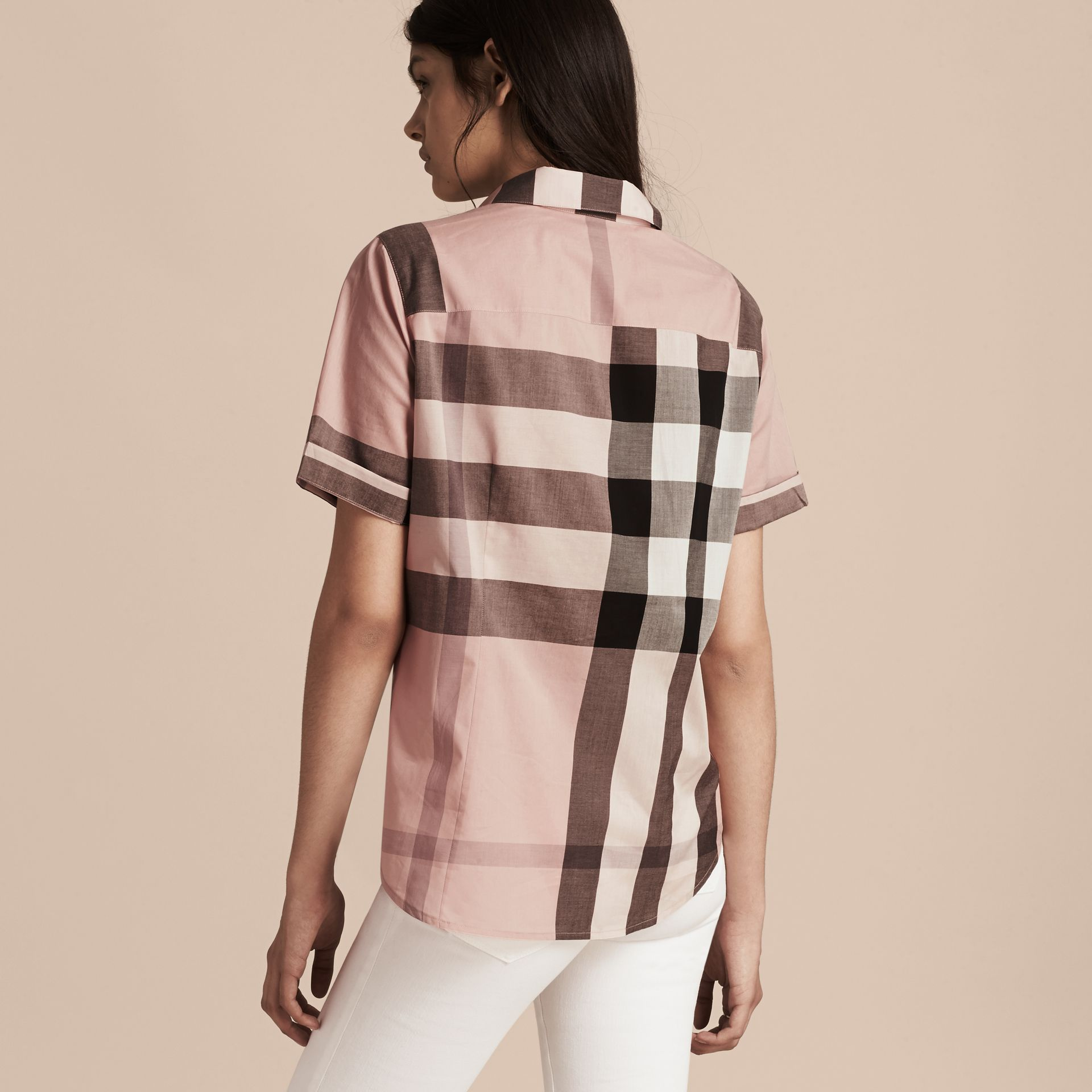 Antique pink Short-sleeved Check Cotton Shirt Antique Pink - gallery image 3