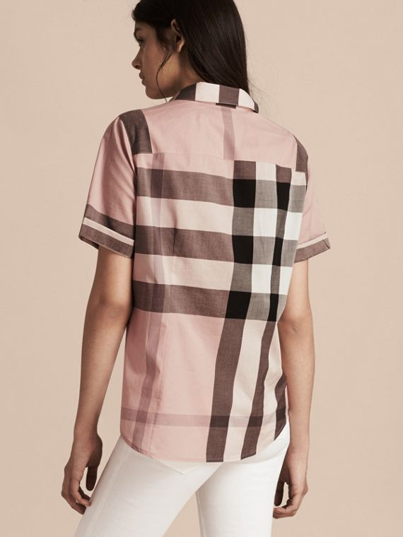 Antique pink Short-sleeved Check Cotton Shirt Antique Pink - cell image 2